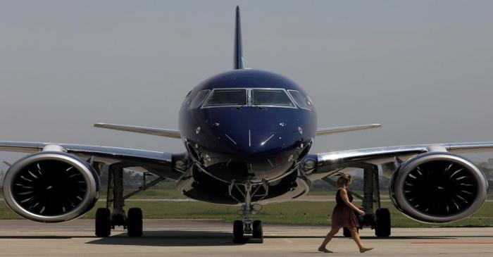 FILE PHOTO: E2-195 plane with Brazil's No. 3 airline Azul SA logo is seen during a launch event