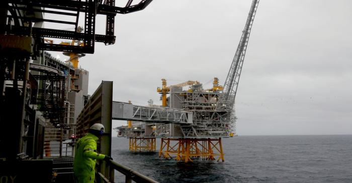 FILE PHOTO: A general view of the Johan Sverdrup oilfield platforms in the North Sea