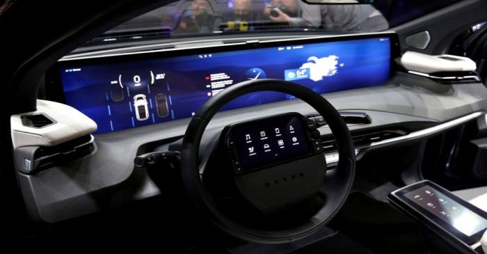 FILE PHOTO: An interior view of the Byton M-Byte all-electric SUV, expected to enter mass
