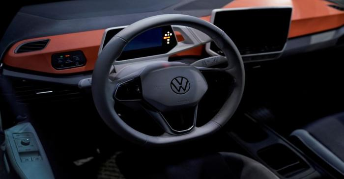 FILE PHOTO: The interior of a Volkswagen electric ID car is seen during a construction