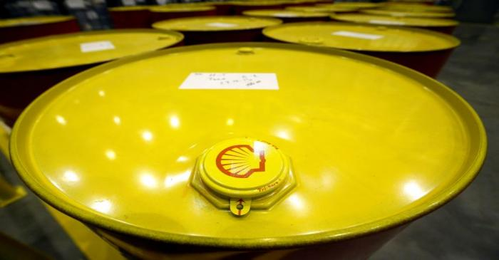 Filled oil drums are seen at Royal Dutch Shell Plc's lubricants blending plant in the town of