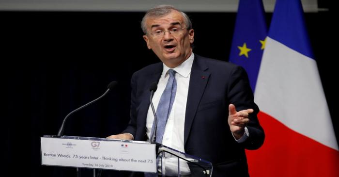 Governor of the Bank of France Francois Villeroy de Galhau delivers a speech to open a