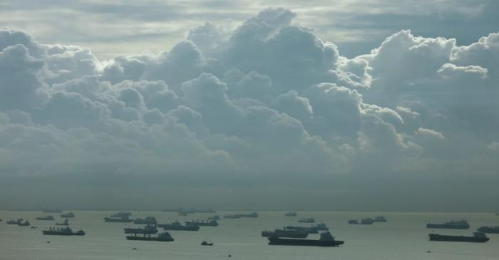 FILE PHOTO: A view of shipping vessels in the southern coast of Singapore