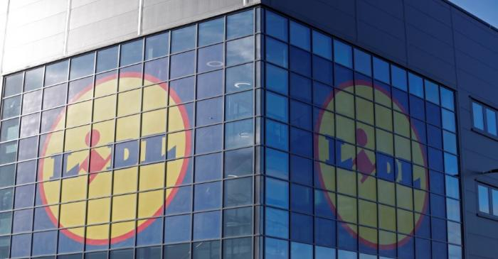 Lidl's logos are seen on the exterior of its new Scottish distribution centre as it commences