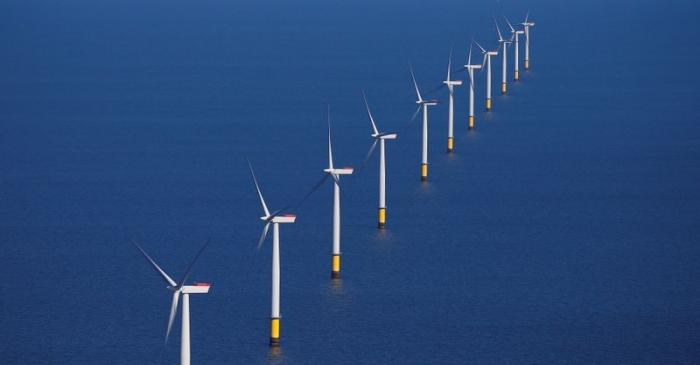 General view of the Walney Extension offshore wind farm operated by Orsted off the coast of