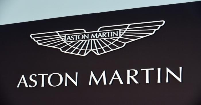 FILE PHOTO: An Aston Martin logo is pictured at the new factory in Saint Athan