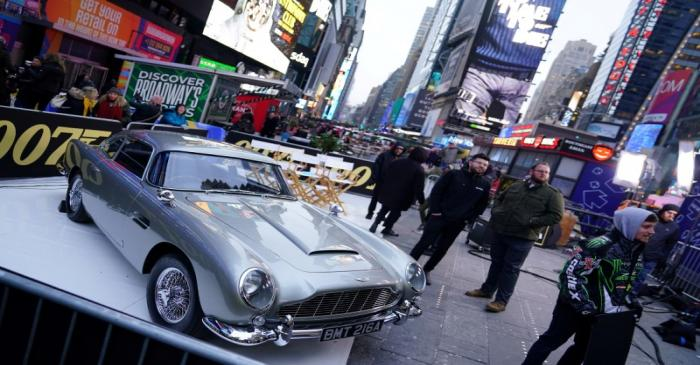 FILE PHOTO: An Aston Martin DB5 is pictured during a promotion in Times Square for the James
