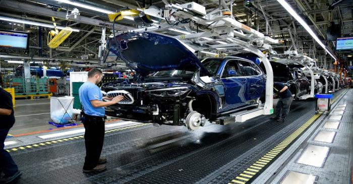 FILE PHOTO: X model SUVs being built on the assembly line at the BMW manufacturing facility in