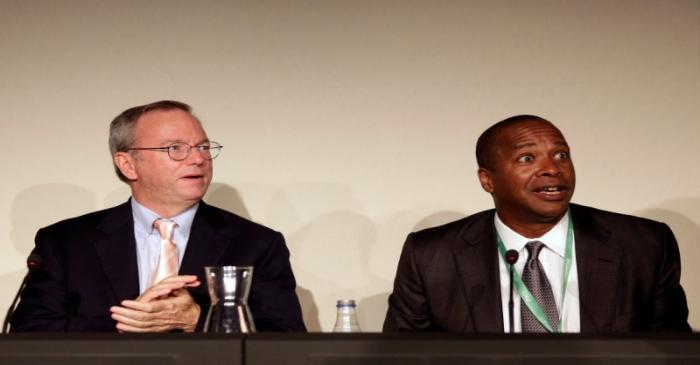 FILE PHOTO: Google Executive Chairman Schmidt and Drummond, Google's Senior Vice President of