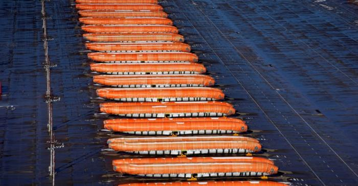 FILE PHOTO: Airplane fuselages bound for Boeing's 737 Max production facility sit in storage at