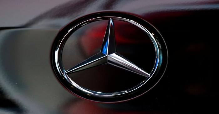 The logo of German car manufacturer Mercedes-Benz is seen at Brussels Motor Show