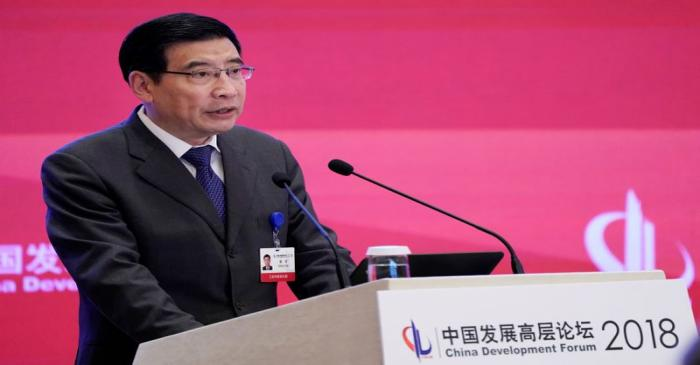 China's Minister of Industry and Information Technology Miao Wei speaks at the annual session