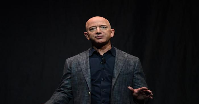 Founder, Chairman, CEO and President of Amazon Jeff Bezos speaks during an event about Blue