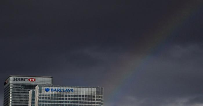 FILE PHOTO: A rainbow appears over HSBC and Barclay's buildings in the Canary Wharf financial