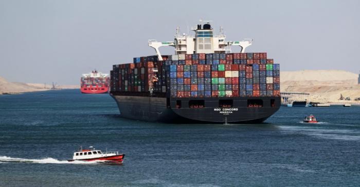 FILE PHOTO: Container ship RDO Concord sails through the Suez Canal