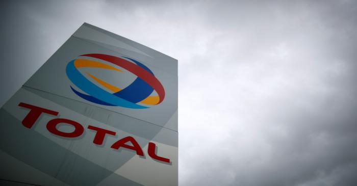 FILE PHOTO: The logo of the French oil giant Total Refinery is seen in Donges