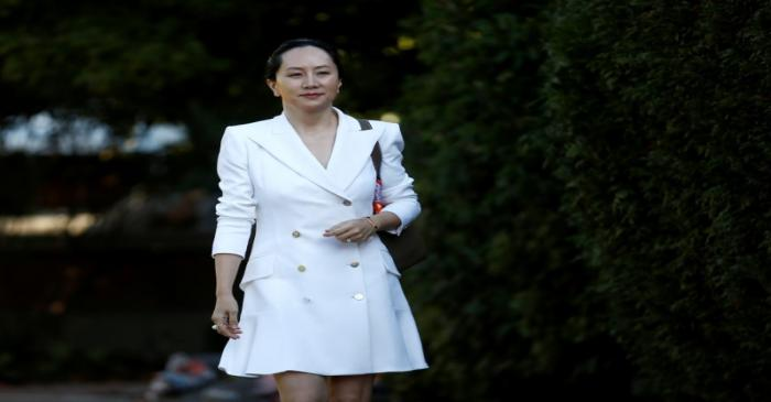 Huawei Technologies Chief Financial Officer Meng Wanzhou leaves her home to appear in British
