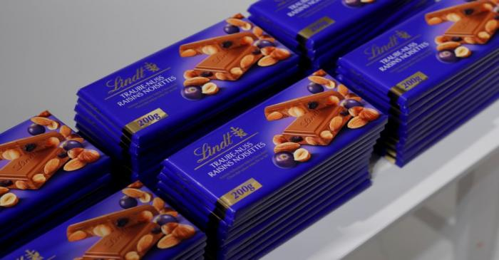 FILE PHOTO: Raisins noisettes chocolates are displayed during the annual news conference of