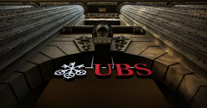 The logo of Swiss bank UBS on a building in Zurich