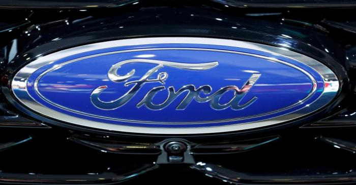 FILE PHOTO: The corporate logo of Ford is seen at Brussels Motor Show