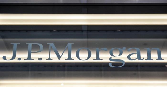 A J.P. Morgan logo is seen in New York City