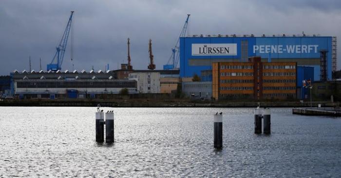 FILE PHOTO: The Luerssen Peene shipyard is pictured in Wolgast
