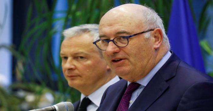 French Finance Minister Bruno Le Maire meets European Trade Commissioner Phil Hogan at the