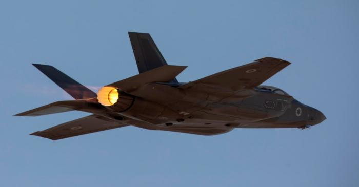 FILE PHOTO: An Israeli F35 aircraft is seen in mid-flight during
