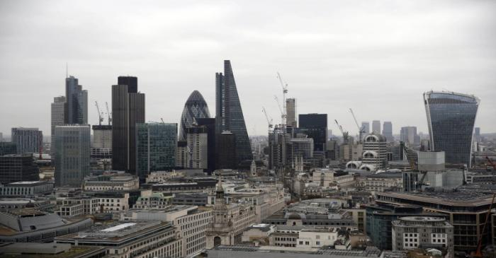 FILE PHOTO:  A view of the London skyline shows the City of London financial district, seen