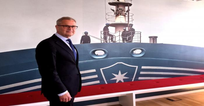 FILE PHOTO: Maersk CEO Skou attends news conference in Copenhagen
