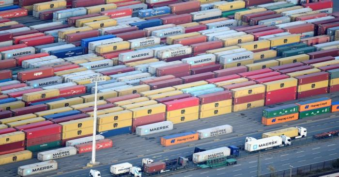 FILE PHOTO: Containers are seen at a terminal in the port of Hamburg