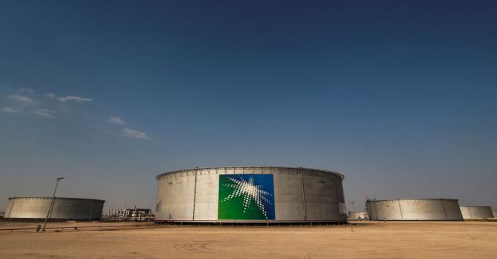 A view shows branded oil tanks at Saudi Aramco oil facility in Abqaiq