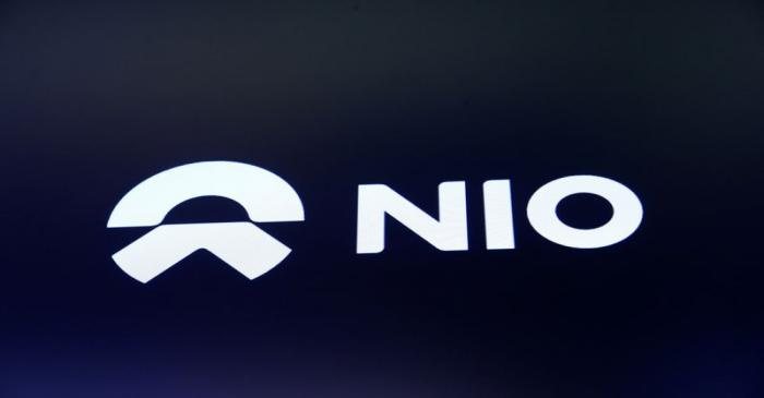 FILE PHOTO: Chinese electric vehicle start-up Nio Inc. company logo is on display on its