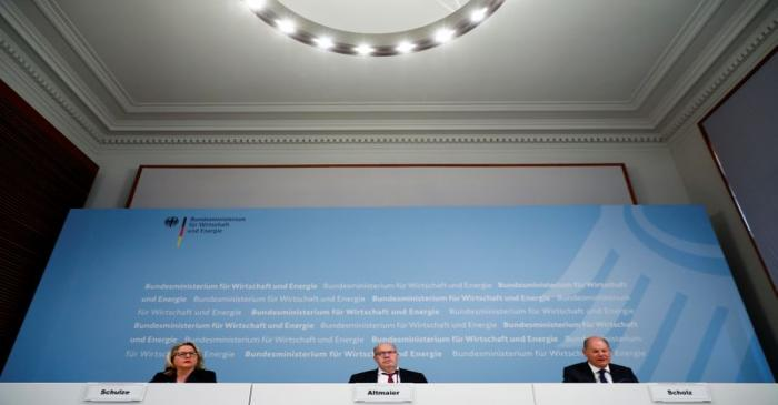 Germany's Economy and Energy Minister Altmaier, Environment Minister Schulze and Finance