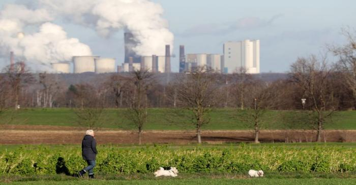 Steam rises from Neurath lignite power plant