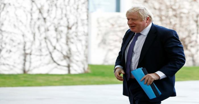 Britain's Prime Minister Boris Johnson arrives at the Libya summit in Berlin