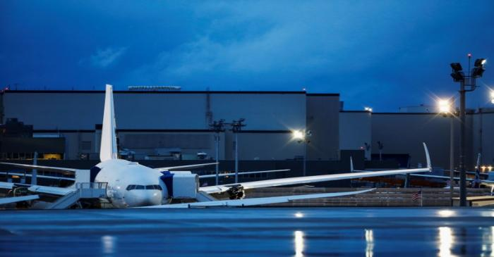 FILE PHOTO: A white 777X is pictured at Boeing's facility in Everett