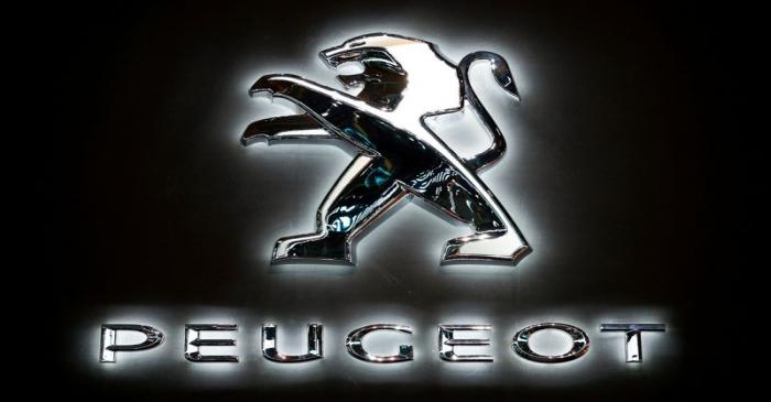 The logo of French car manufacturer Peugeot is seen at Brussels Motor Show