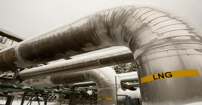 FILE PHOTO:  Snow covered transfer lines are seen at the Dominion Cove Point Liquefied Natural