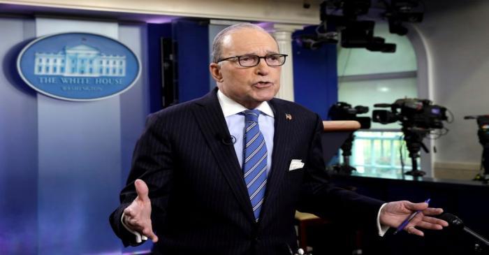 Larry Kudlow speaks during a TV interview in Washington