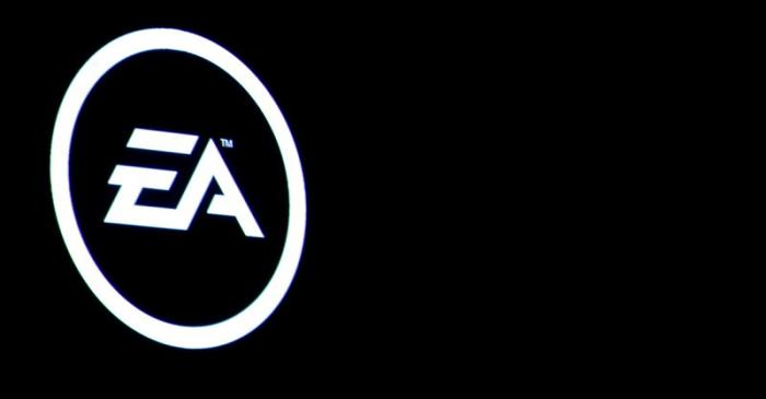 FILE PHOTO:  The Electronic Arts Inc., logo is displayed on a screen during a PlayStation 4 Pro