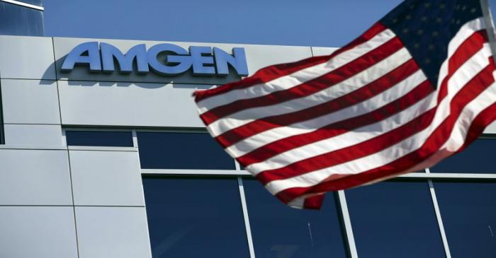 File photo of an Amgen sign at the company's office in South San Francisco