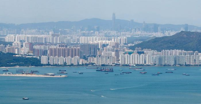 A general view of the skyline of Hong Kong island from Lantau Island