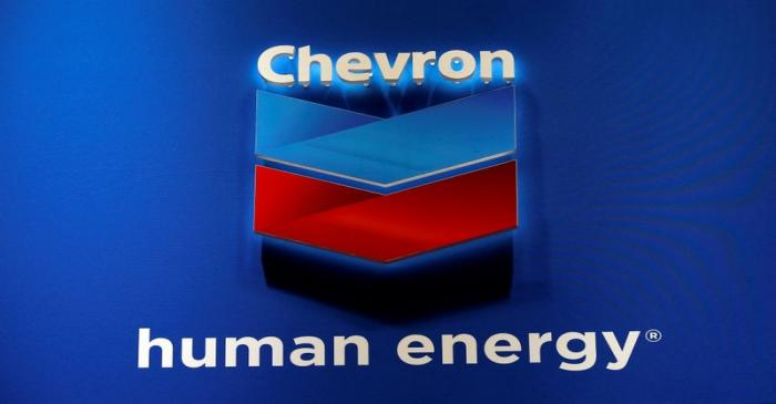 The logo of Chevron Corp is seen in its booth at Gastech, the world's biggest expo for the gas