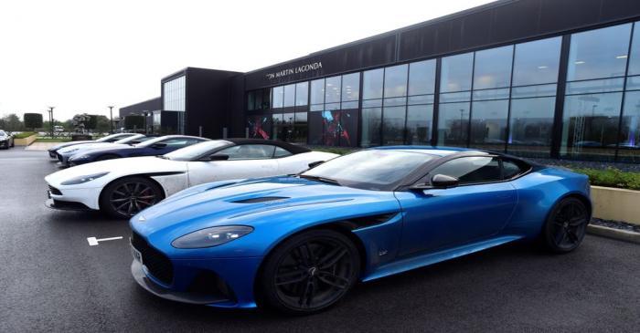Aston Martin Lagonda cars parked outside the new factory at Saint Athan