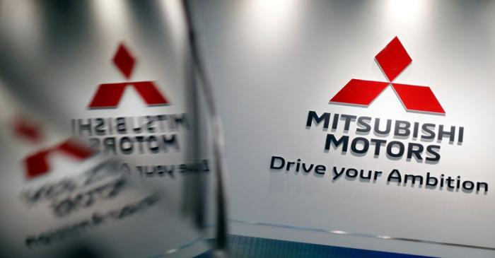 The logo of Mitsubishi Motors Corp is displayed at the company's showroom in Tokyo