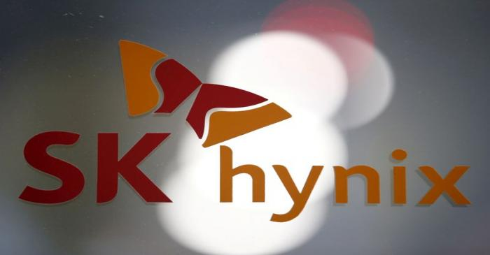 FILE PHOTO:  The logo of SK Hynix is seen at its headquarters in Seongnam