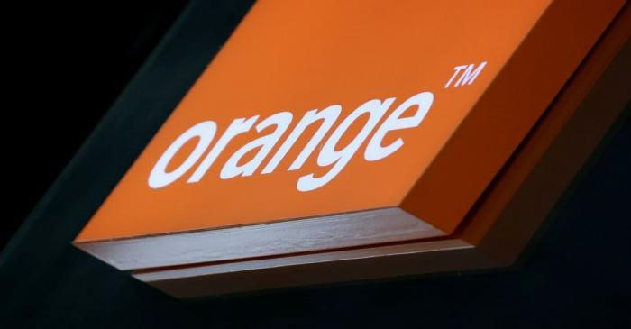FILE PHOTO: The logo of French telecoms operator Orange is pictured in a retail store in