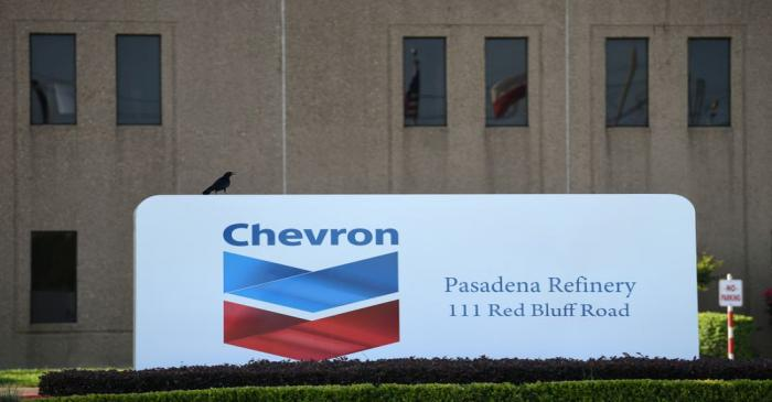 An entrance sign at the Chevron refinery, located near the Houston Ship Channel, is seen in
