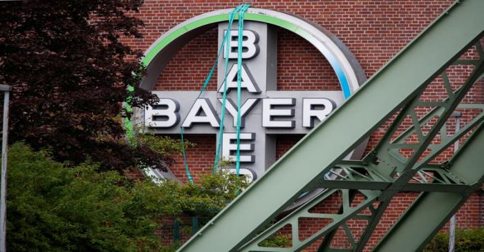 FILE PHOTO: Logo of Bayer AG at a plant of the German pharmaceutical and chemical maker in